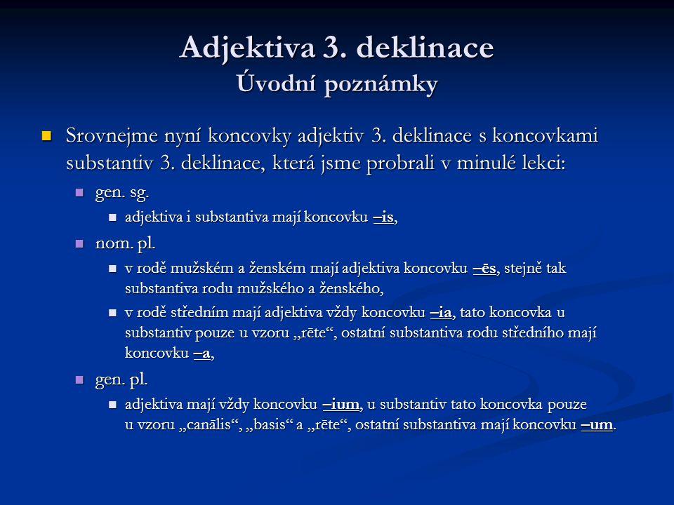 Adjektiva 3.deklinace Úvodní poznámky Srovnejme nyní koncovky adjektiv 3.