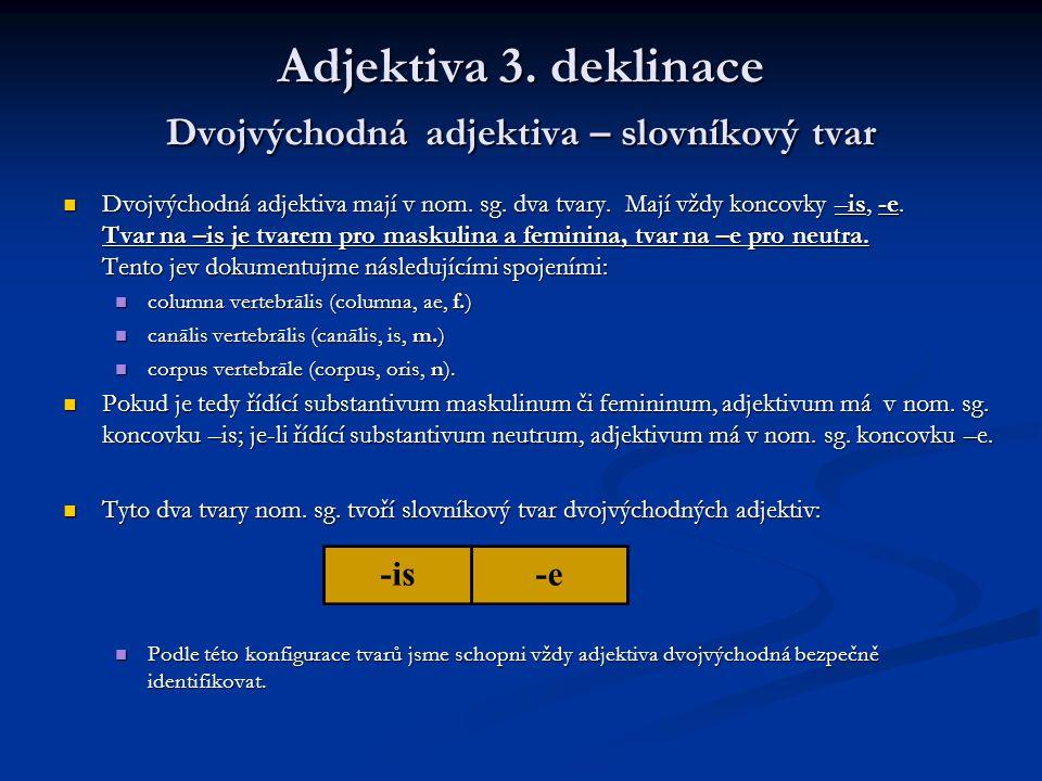 Adjektiva 3.deklinace Dvojvýchodná adjektiva – slovníkový tvar Dvojvýchodná adjektiva mají v nom.