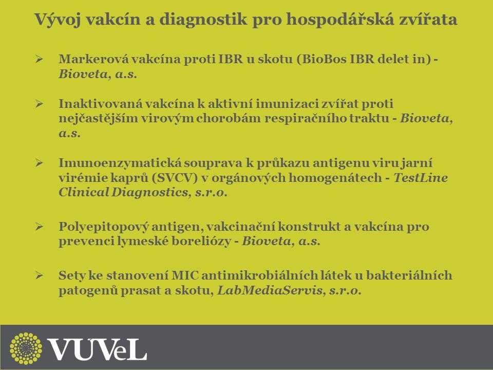Vývoj vakcín a diagnostik pro hospodářská zvířata  Markerová vakcína proti IBR u skotu (BioBos IBR delet in) - Bioveta, a.s.  Inaktivovaná vakcína k