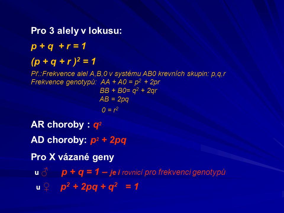 Pro 3 alely v lokusu: p + q + r = 1 (p + q + r ) 2 = 1 Př.:Frekvence alel A,B,0 v systému AB0 krevních skupin: p,q,r Frekvence genotypů: AA + A0 = p 2