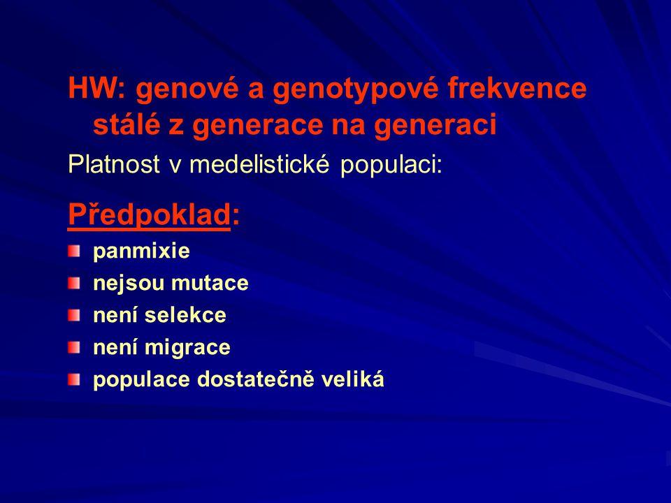 HW: genové a genotypové frekvence stálé z generace na generaci Platnost v medelistické populaci: Předpoklad: panmixie nejsou mutace není selekce není