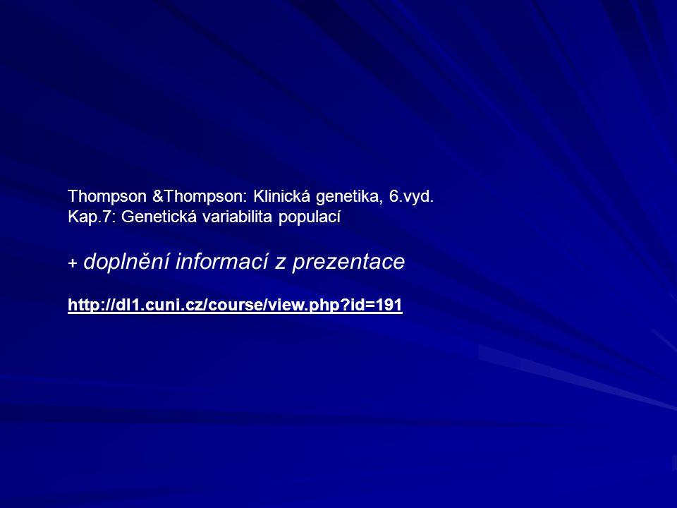 Thompson &Thompson: Klinická genetika, 6.vyd. Kap.7: Genetická variabilita populací + doplnění informací z prezentace http://dl1.cuni.cz/course/view.p