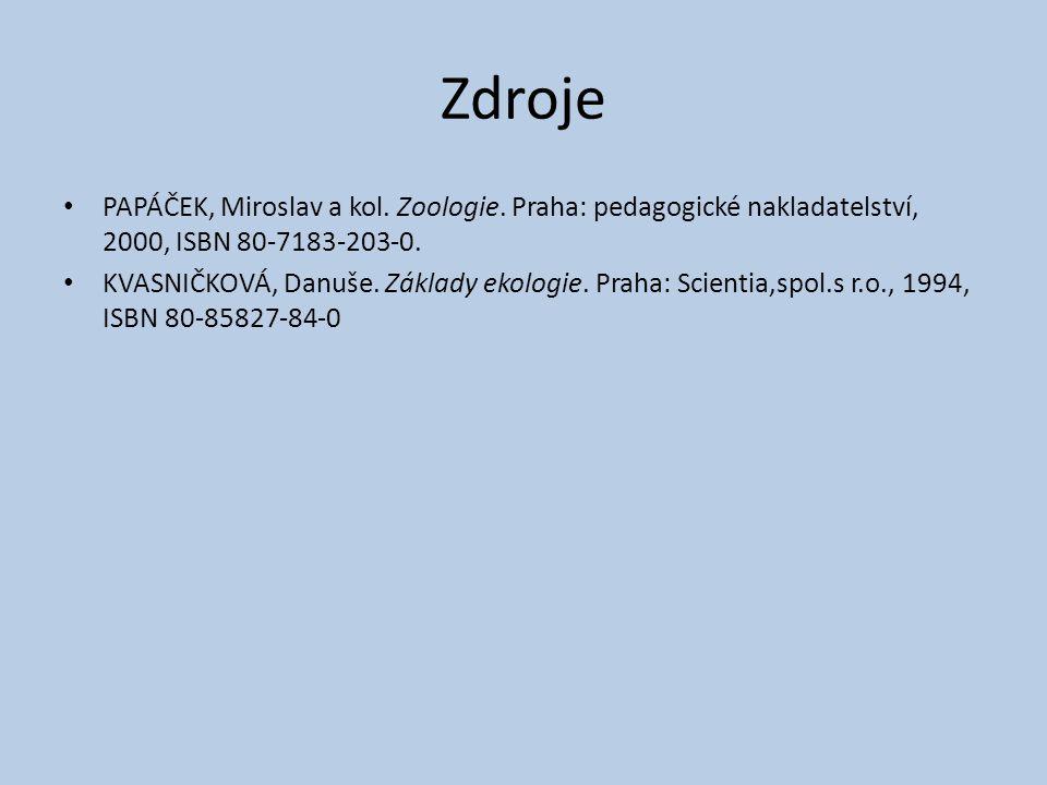 Zdroje PAPÁČEK, Miroslav a kol. Zoologie. Praha: pedagogické nakladatelství, 2000, ISBN 80-7183-203-0. KVASNIČKOVÁ, Danuše. Základy ekologie. Praha: S