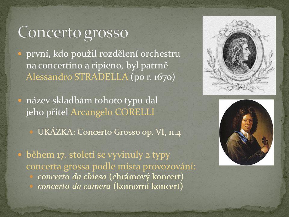 rozvíjel se současně s concertem grossem první skladatelé sólových koncertů byli: Alessandro STRADELLA (1639-1682) Giuseppe TORELLI (1658-1709) Arcangelo CORELLI (1653-1713) Antonio VIVALDI (1678 - 1741) jeden z nejvýznamnější skladatelů sólových koncertů z cca 790 skladeb (Ryomův katalog) je koncertů přes 500.