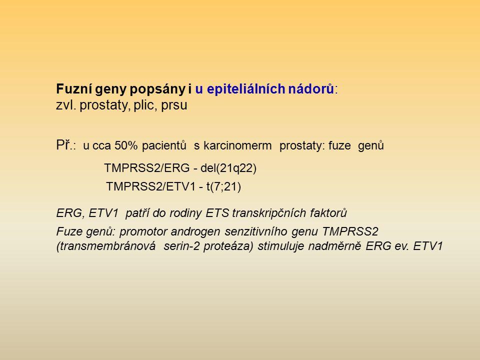 Fuzní geny popsány i u epiteliálních nádorů: zvl. prostaty, plic, prsu Př.: u cca 50% pacientů s karcinomerm prostaty: fuze genů TMPRSS2/ERG - del(21q