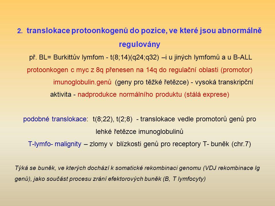 2. translokace protoonkogenů do pozice, ve které jsou abnormálně regulovány př. BL= Burkittův lymfom - t(8;14)(q24;q32) –i u jiných lymfomů a u B-ALL