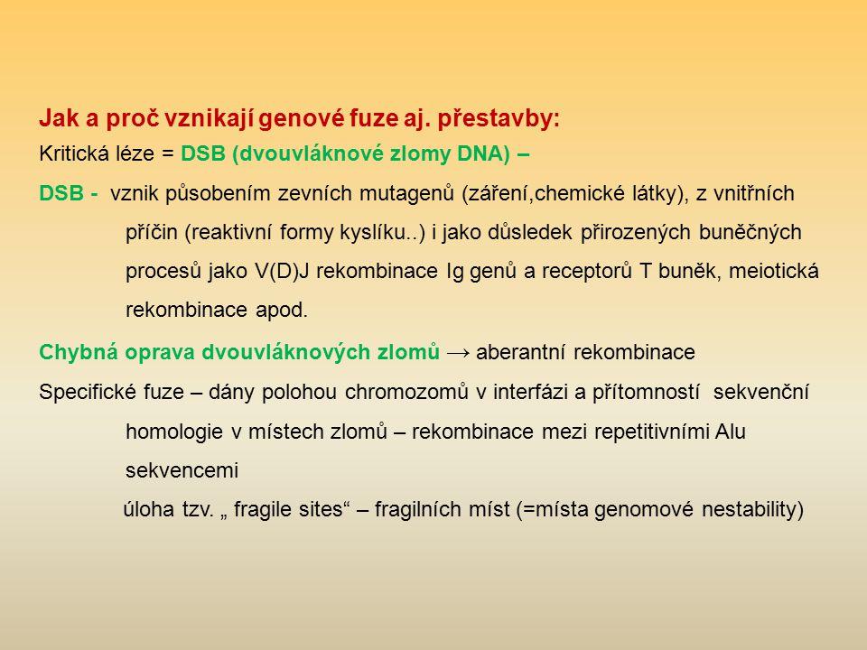 Jak a proč vznikají genové fuze aj. přestavby: Kritická léze = DSB (dvouvláknové zlomy DNA) – DSB - vznik působením zevních mutagenů (záření,chemické