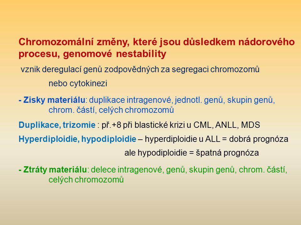 Chromozomální změny, které jsou důsledkem nádorového procesu, genomové nestability vznik deregulací genů zodpovědných za segregaci chromozomů nebo cyt
