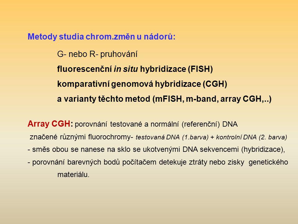 Metody studia chrom.změn u nádorů: G- nebo R- pruhování fluorescenční in situ hybridizace (FISH) komparativní genomová hybridizace (CGH) a varianty tě