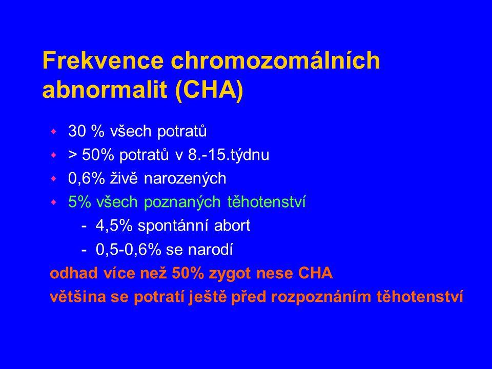 Edwardsův syndrom (ES) - trizomie 18 frekvence: 1/5000 živě narozených karyotyp: 47,XX nebo XY, +18 Klinické příznaky : protažená occipitální část lebky dysmorfické rysy obličeje nízko posazené, malformované uši abnormální překřížení prstů krátké sternum vady orgánů, zvl.srdce