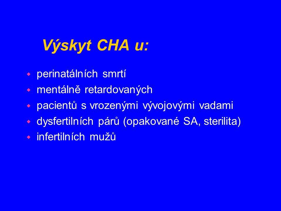 Výskyt CHA u: w perinatálních smrtí w mentálně retardovaných w pacientů s vrozenými vývojovými vadami w dysfertilních párů (opakované SA, sterilita) w