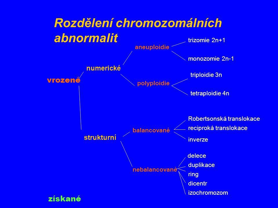 Numerické chromozomální aberace: Trizomie (47 chromozomů): M.Down = trizomie 21 Monozomie (45 chromozomů): Turnerův sy = monozomie X Triploidie (69 chromozomů): letální,v potratech