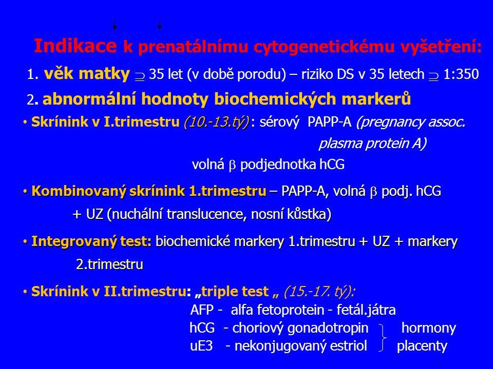 Indikace k prenatálnímu cytogenetickému vyšetření: 1. věk matky  35 let (v době porodu) – riziko DS v 35 letech  1:350 2. abnormální hodnoty biochem