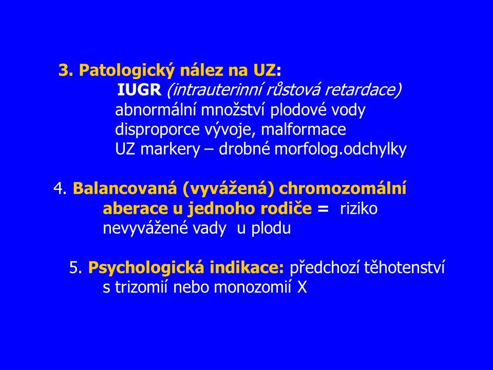 3. Patologický nález na UZ: IUGR (intrauterinní růstová retardace) abnormální množství plodové vody disproporce vývoje, malformace UZ markery – drobné