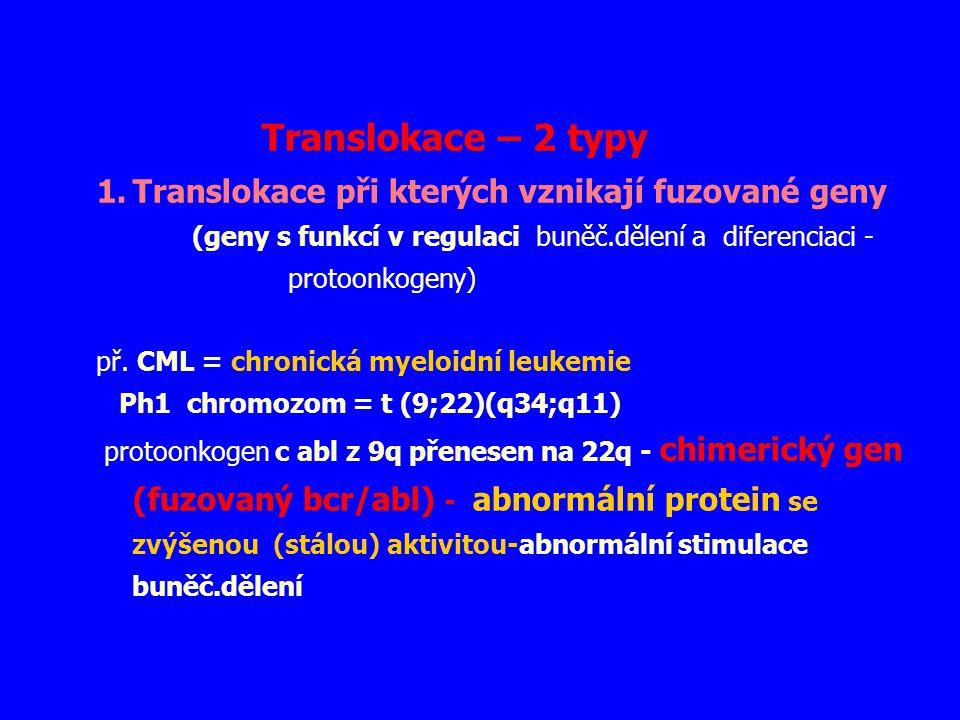 Translokace – 2 typy 1.Translokace při kterých vznikají fuzované geny (geny s funkcí v regulaci buněč.dělení a diferenciaci - protoonkogeny) př. CML =