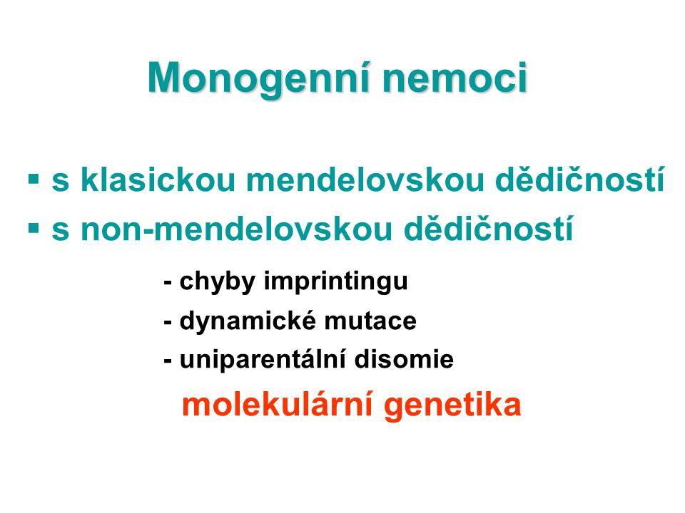 Monogenní nemoci  s klasickou mendelovskou dědičností  s non-mendelovskou dědičností - chyby imprintingu - dynamické mutace - uniparentální disomie