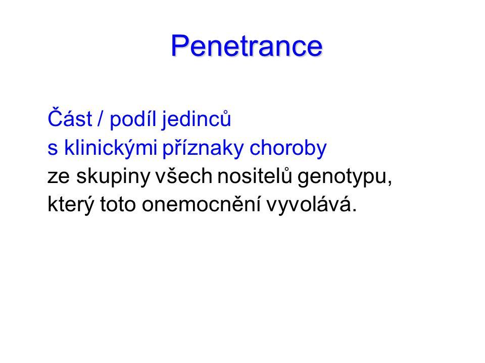 Penetrance Penetrance Část / podíl jedinců s klinickými příznaky choroby ze skupiny všech nositelů genotypu, který toto onemocnění vyvolává.