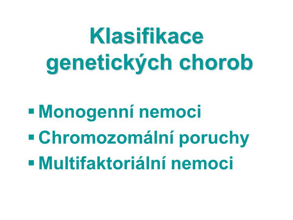 Klasifikace genetických chorob  Monogenní nemoci  Chromozomální poruchy  Multifaktoriální nemoci