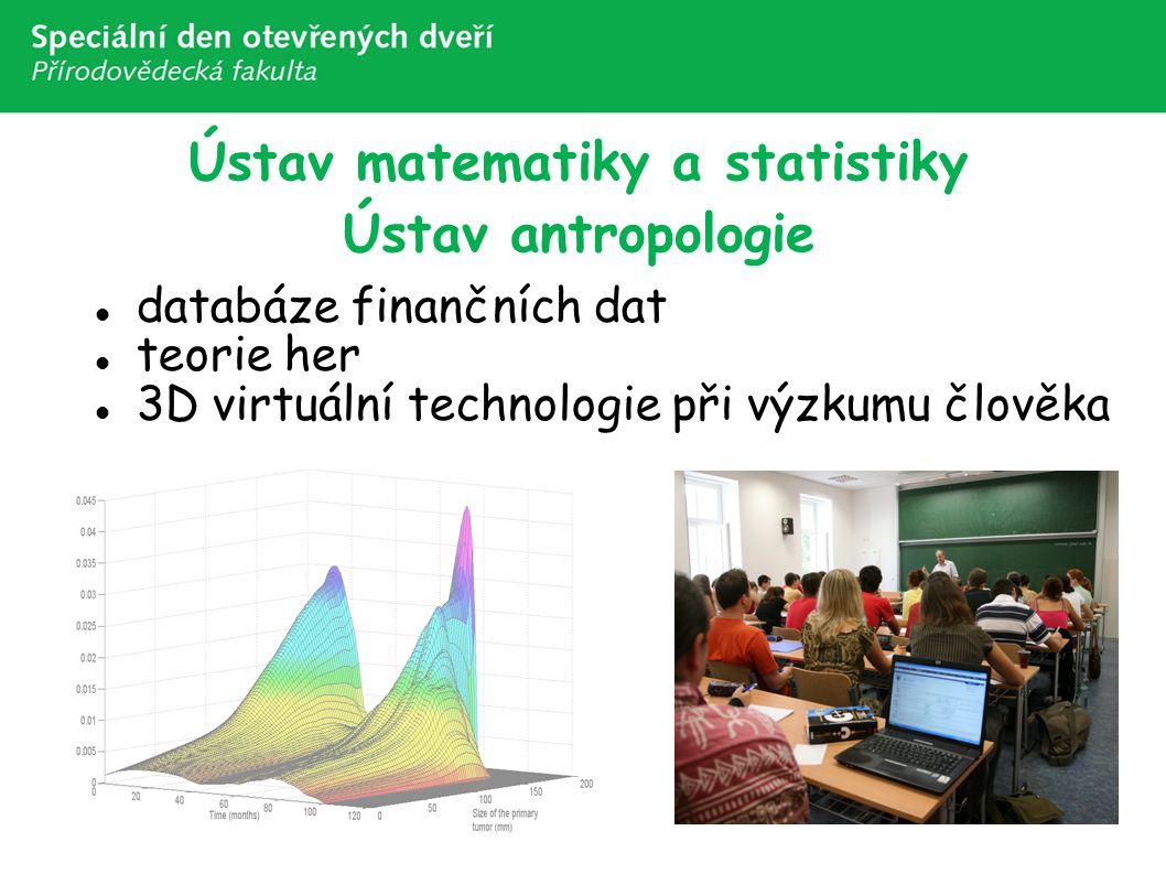 Ústav matematiky a statistiky Ústav antropologie databáze finančních dat teorie her 3D virtuální technologie při výzkumu člověka
