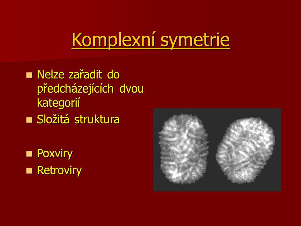 Komplexní symetrie Nelze zařadit do předcházejících dvou kategorií Nelze zařadit do předcházejících dvou kategorií Složitá struktura Složitá struktura Poxviry Poxviry Retroviry Retroviry