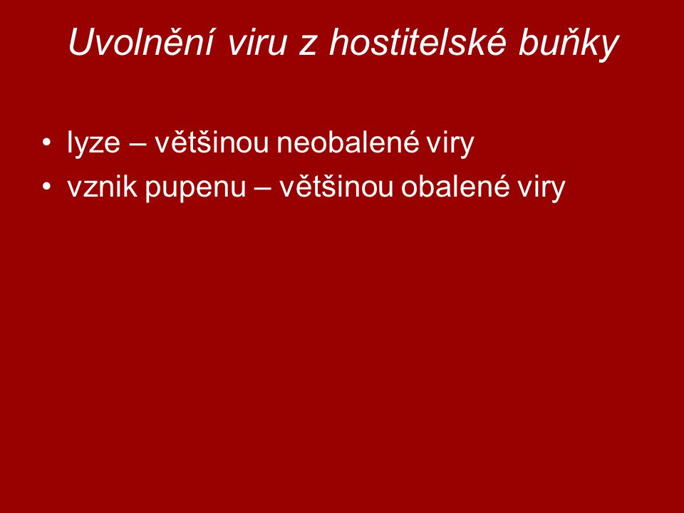 Uvolnění viru z hostitelské buňky lyze – většinou neobalené viry vznik pupenu – většinou obalené viry