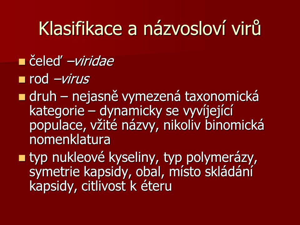 Klasifikace a názvosloví virů čeleď –viridae čeleď –viridae rod –virus rod –virus druh – nejasně vymezená taxonomická kategorie – dynamicky se vyvíjející populace, vžité názvy, nikoliv binomická nomenklatura druh – nejasně vymezená taxonomická kategorie – dynamicky se vyvíjející populace, vžité názvy, nikoliv binomická nomenklatura typ nukleové kyseliny, typ polymerázy, symetrie kapsidy, obal, místo skládání kapsidy, citlivost k éteru typ nukleové kyseliny, typ polymerázy, symetrie kapsidy, obal, místo skládání kapsidy, citlivost k éteru
