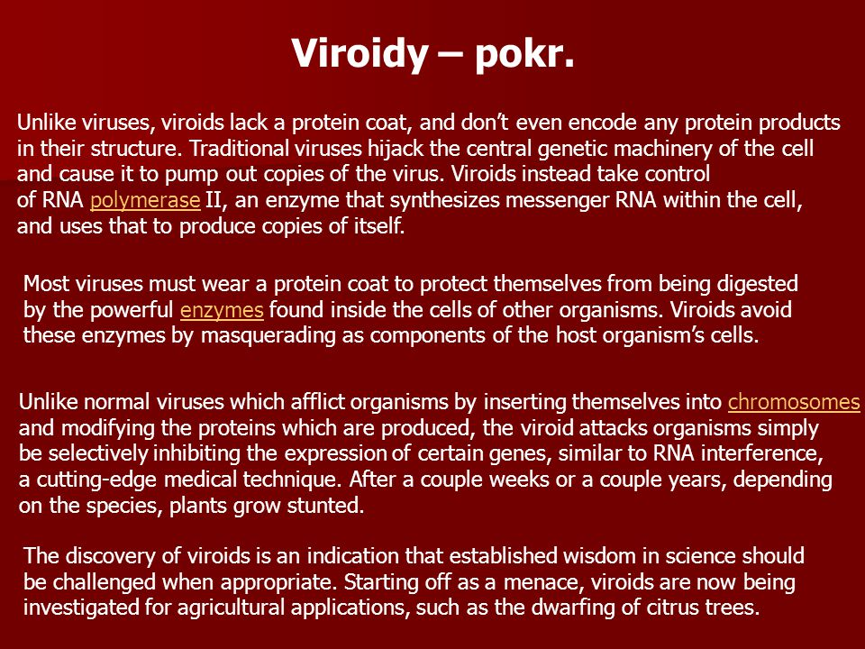 Unlike normal viruses which afflict organisms by inserting themselves into chromosomeschromosomes and modifying the proteins which are produced, the v