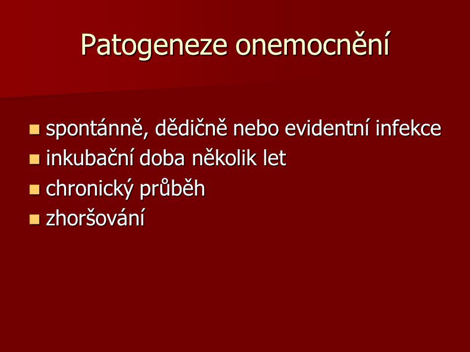 Patogeneze onemocnění spontánně, dědičně nebo evidentní infekce spontánně, dědičně nebo evidentní infekce inkubační doba několik let inkubační doba několik let chronický průběh chronický průběh zhoršování zhoršování