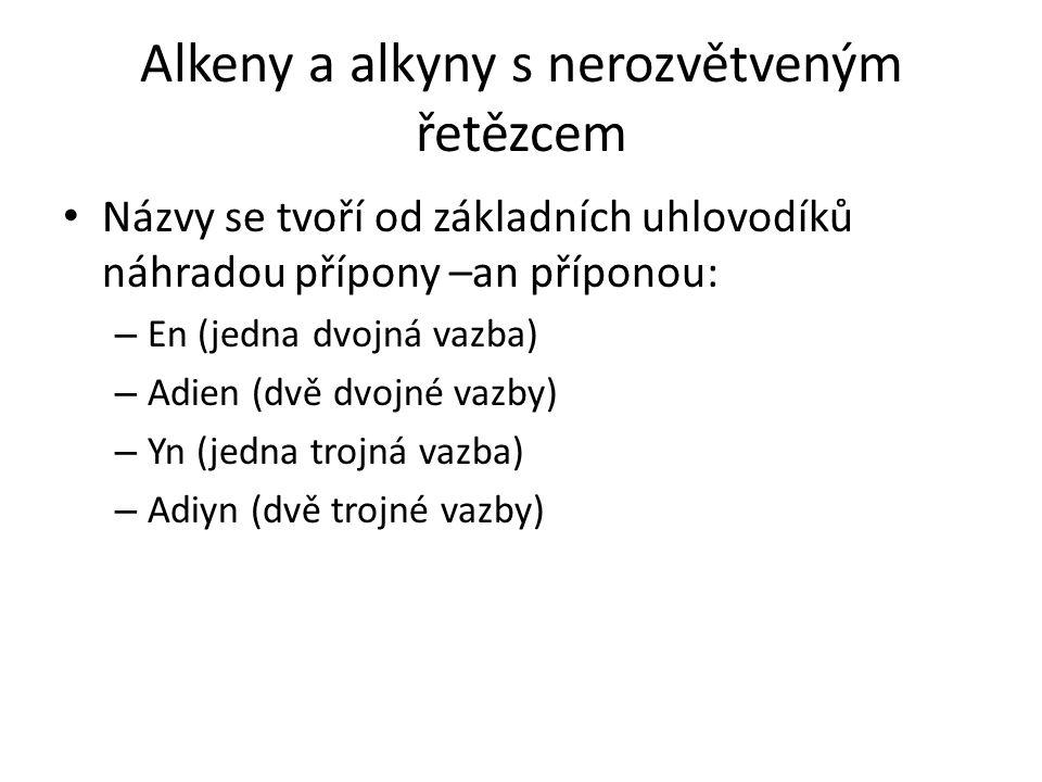 Alkeny a alkyny s nerozvětveným řetězcem Názvy se tvoří od základních uhlovodíků náhradou přípony –an příponou: – En (jedna dvojná vazba) – Adien (dvě