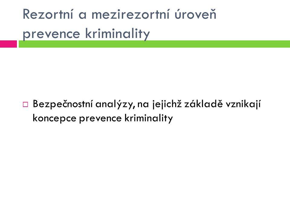 Rezortní a mezirezortní úroveň prevence kriminality  Bezpečnostní analýzy, na jejichž základě vznikají koncepce prevence kriminality