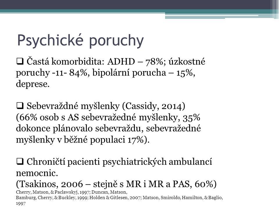 Psychické poruchy  Častá komorbidita: ADHD – 78%; úzkostné poruchy -11- 84%, bipolární porucha – 15%, deprese.  Sebevraždné myšlenky (Cassidy, 2014)