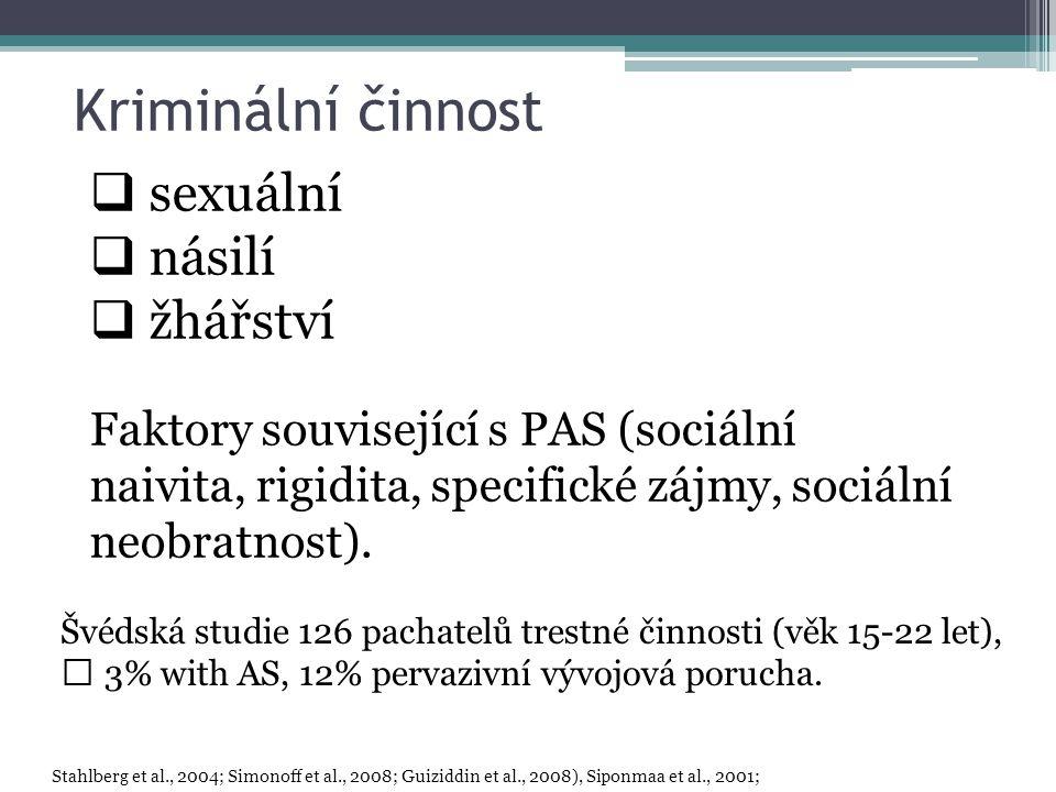 Kriminální činnost  sexuální  násilí  žhářství Faktory související s PAS (sociální naivita, rigidita, specifické zájmy, sociální neobratnost).