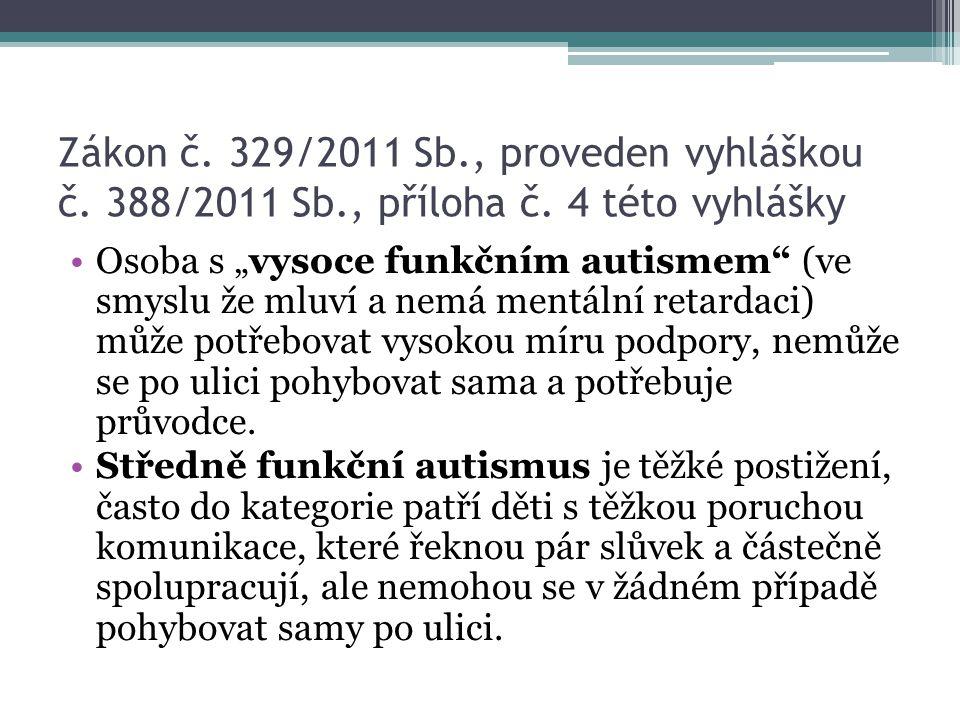 """Zákon č. 329/2011 Sb., proveden vyhláškou č. 388/2011 Sb., příloha č. 4 této vyhlášky Osoba s """"vysoce funkčním autismem"""" (ve smyslu že mluví a nemá me"""