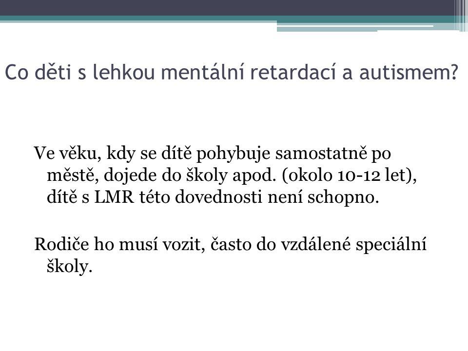 Co děti s lehkou mentální retardací a autismem? Ve věku, kdy se dítě pohybuje samostatně po městě, dojede do školy apod. (okolo 10-12 let), dítě s LMR