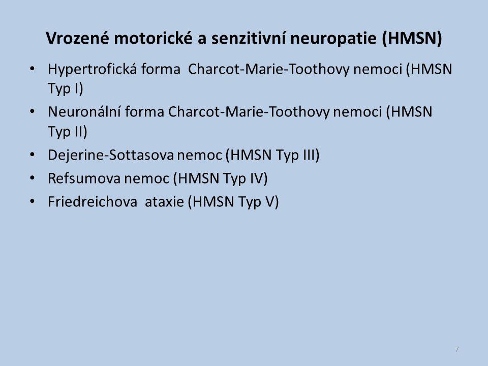 Vrozené motorické a senzitivní neuropatie (HMSN) Hypertrofická forma Charcot-Marie-Toothovy nemoci (HMSN Typ I) Neuronální forma Charcot-Marie-Toothov