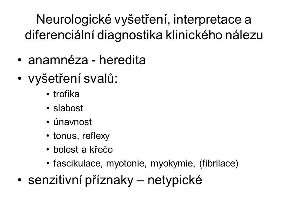 Neurologické vyšetření, interpretace a diferenciální diagnostika klinického nálezu anamnéza - heredita vyšetření svalů: trofika slabost únavnost tonus, reflexy bolest a křeče fascikulace, myotonie, myokymie, (fibrilace) senzitivní příznaky – netypické