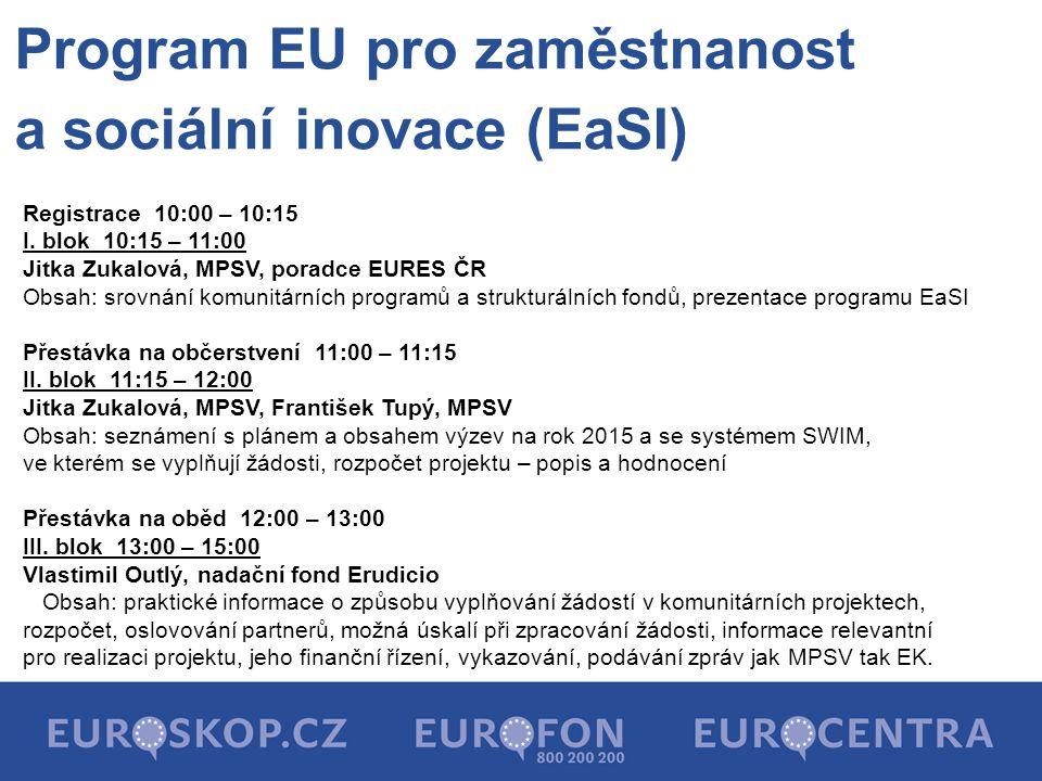 Program EU pro zaměstnanost a sociální inovace (EaSI) Registrace 10:00 – 10:15 I.