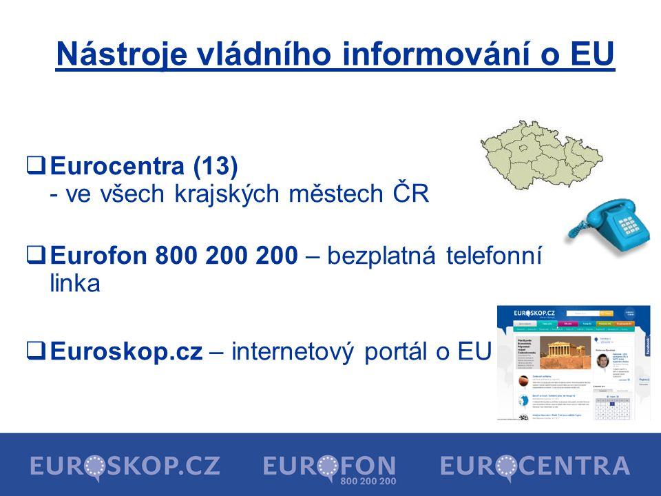 Nástroje vládního informování o EU  Eurocentra (13) - ve všech krajských městech ČR  Eurofon 800 200 200 – bezplatná telefonní linka  Euroskop.cz – internetový portál o EU