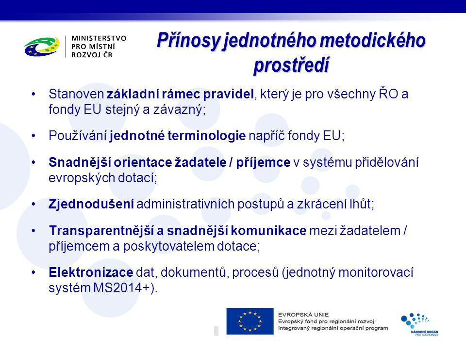 Přínosy jednotného metodického prostředí Stanoven základní rámec pravidel, který je pro všechny ŘO a fondy EU stejný a závazný; Používání jednotné ter
