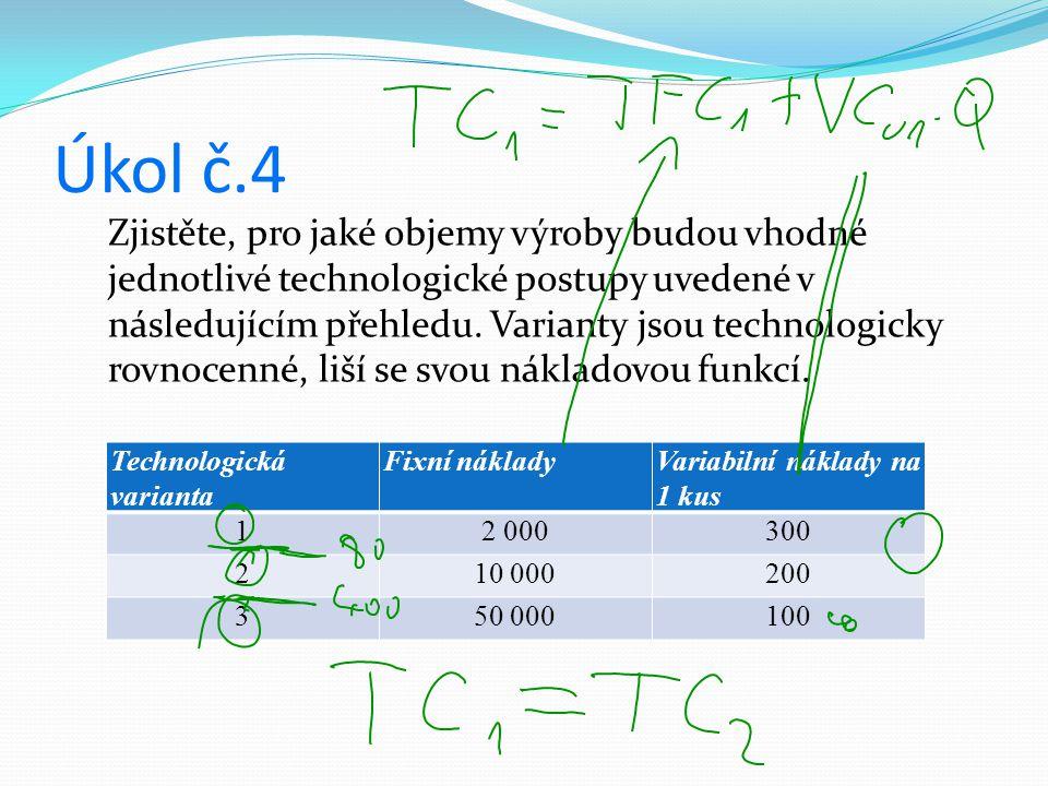 Úkol č.4 Technologická varianta Fixní nákladyVariabilní náklady na 1 kus 12 000300 210 000200 350 000100 Zjistěte, pro jaké objemy výroby budou vhodné jednotlivé technologické postupy uvedené v následujícím přehledu.