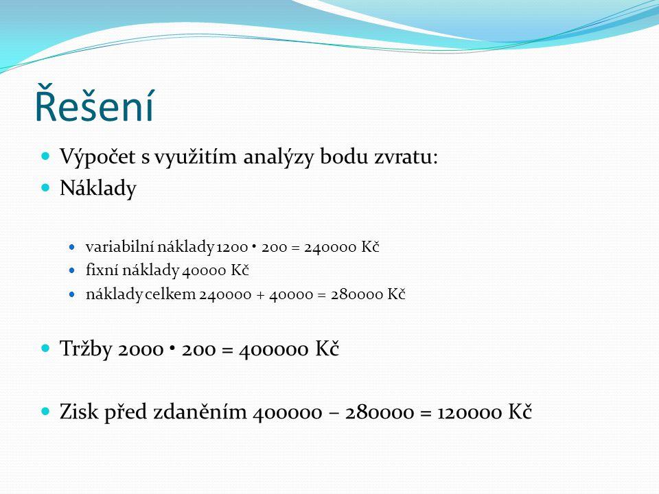 Řešení Výpočet s využitím analýzy bodu zvratu: Náklady variabilní náklady 1200 200 = 240000 Kč fixní náklady 40000 Kč náklady celkem 240000 + 40000 =