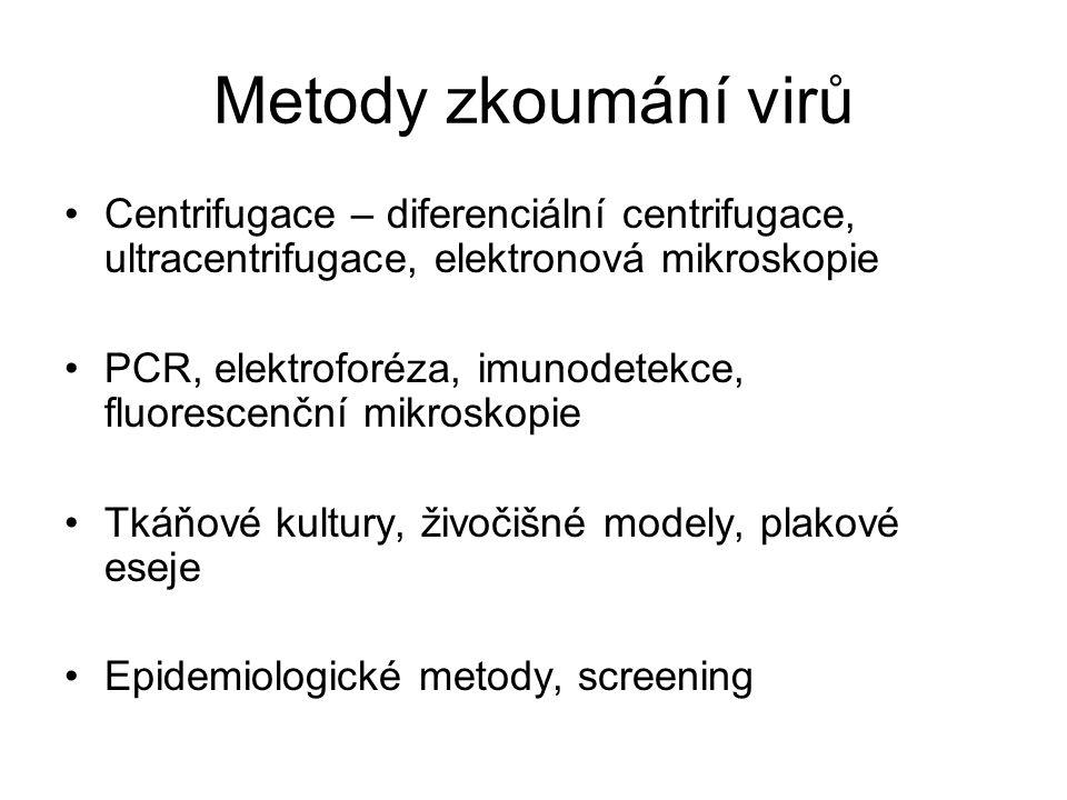 Metody zkoumání virů Centrifugace – diferenciální centrifugace, ultracentrifugace, elektronová mikroskopie PCR, elektroforéza, imunodetekce, fluoresce