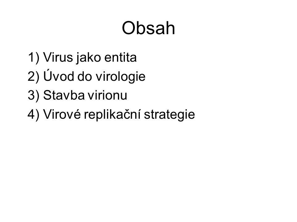 Obsah 1) Virus jako entita 2) Úvod do virologie 3) Stavba virionu 4) Virové replikační strategie