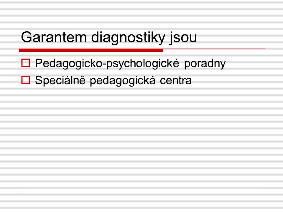 Garantem diagnostiky jsou  Pedagogicko-psychologické poradny  Speciálně pedagogická centra