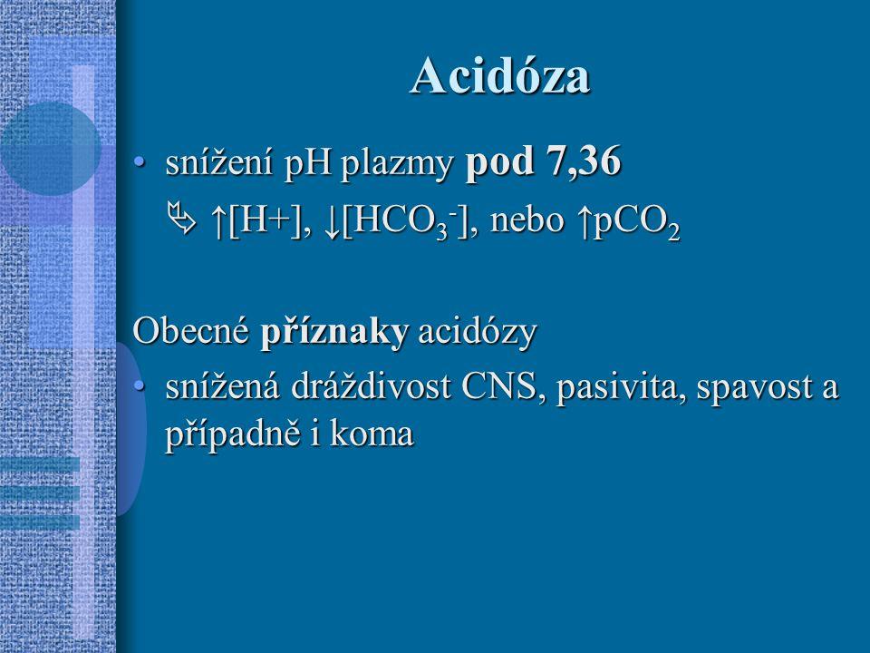 Acidóza snížení pH plazmy pod 7,36snížení pH plazmy pod 7,36  ↑[H+], ↓[HCO 3 - ], nebo ↑pCO 2 Obecné příznaky acidózy snížená dráždivost CNS, pasivita, spavost a případně i komasnížená dráždivost CNS, pasivita, spavost a případně i koma