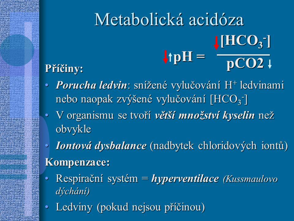Metabolická acidóza Příčiny: Porucha ledvin: snížené vylučování H + ledvinami nebo naopak zvýšené vylučování [HCO 3 - ]Porucha ledvin: snížené vylučování H + ledvinami nebo naopak zvýšené vylučování [HCO 3 - ] V organismu se tvoří větší množství kyselin než obvykleV organismu se tvoří větší množství kyselin než obvykle Iontová dysbalance (nadbytek chloridových iontů)Iontová dysbalance (nadbytek chloridových iontů)Kompenzace: Respirační systém = hyperventilace (Kussmaulovo dýchání)Respirační systém = hyperventilace (Kussmaulovo dýchání) Ledviny (pokud nejsou příčinou)Ledviny (pokud nejsou příčinou) [HCO 3 - ] pCO2 pH =