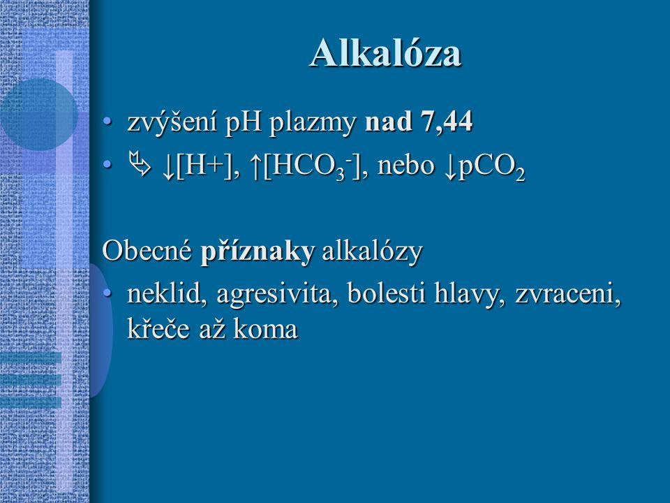 Alkalóza zvýšení pH plazmy nad 7,44zvýšení pH plazmy nad 7,44  ↓[H+], ↑[HCO 3 - ], nebo ↓ pCO 2  ↓[H+], ↑[HCO 3 - ], nebo ↓ pCO 2 Obecné příznaky alkalózy neklid, agresivita, bolesti hlavy, zvraceni, křeče až komaneklid, agresivita, bolesti hlavy, zvraceni, křeče až koma
