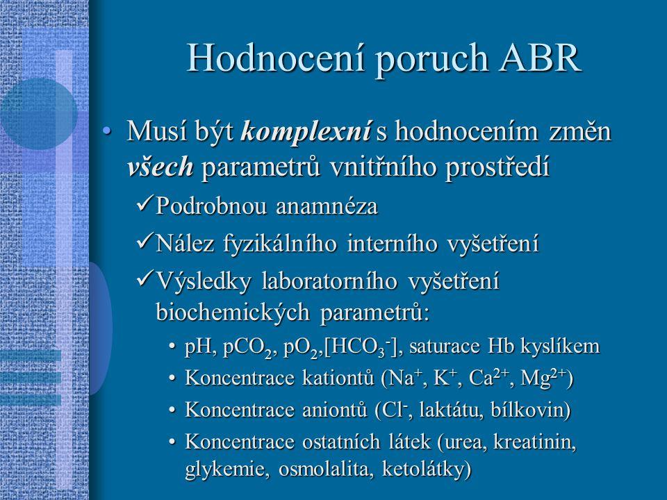 Hodnocení poruch ABR Musí být komplexní s hodnocením změn všech parametrů vnitřního prostředíMusí být komplexní s hodnocením změn všech parametrů vnitřního prostředí Podrobnou anamnéza Podrobnou anamnéza Nález fyzikálního interního vyšetření Nález fyzikálního interního vyšetření Výsledky laboratorního vyšetření biochemických parametrů: Výsledky laboratorního vyšetření biochemických parametrů: pH, pCO 2, pO 2,[HCO 3 - ], saturace Hb kyslíkempH, pCO 2, pO 2,[HCO 3 - ], saturace Hb kyslíkem Koncentrace kationtů (Na +, K +, Ca 2+, Mg 2+ )Koncentrace kationtů (Na +, K +, Ca 2+, Mg 2+ ) Koncentrace aniontů (Cl -, laktátu, bílkovin)Koncentrace aniontů (Cl -, laktátu, bílkovin) Koncentrace ostatních látek (urea, kreatinin, glykemie, osmolalita, ketolátky)Koncentrace ostatních látek (urea, kreatinin, glykemie, osmolalita, ketolátky)
