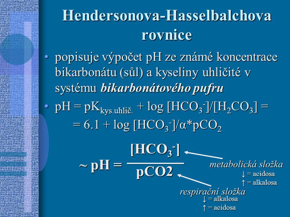 Hendersonova-Hasselbalchova rovnice popisuje výpočet pH ze známé koncentrace bikarbonátu (sůl) a kyseliny uhličité v systému bikarbonátového pufrupopisuje výpočet pH ze známé koncentrace bikarbonátu (sůl) a kyseliny uhličité v systému bikarbonátového pufru pH = pK kys.uhlič.