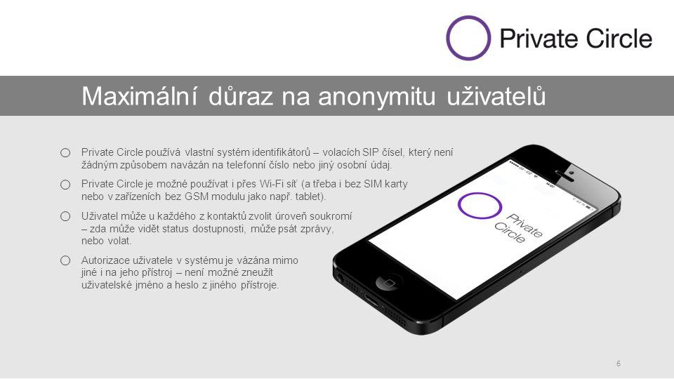 6 Maximální důraz na anonymitu uživatelů Private Circle používá vlastní systém identifikátorů – volacích SIP čísel, který není žádným způsobem navázán na telefonní číslo nebo jiný osobní údaj.
